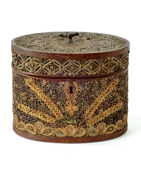 An unusual Sheraton period oval paper scroll tea caddy. Large Image 1