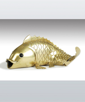 A fine 19th Century cast brass model of a carp.