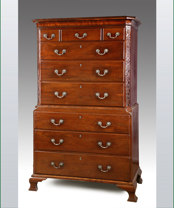A good Chippendale period mahogany tallboy. Large Image 1