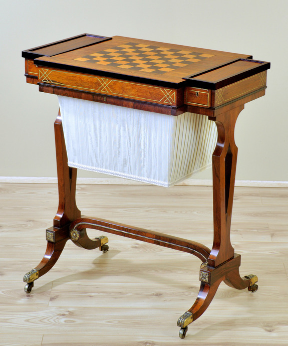 A Regency period rosewood veneered and brass inlaid games table. Large Image 1