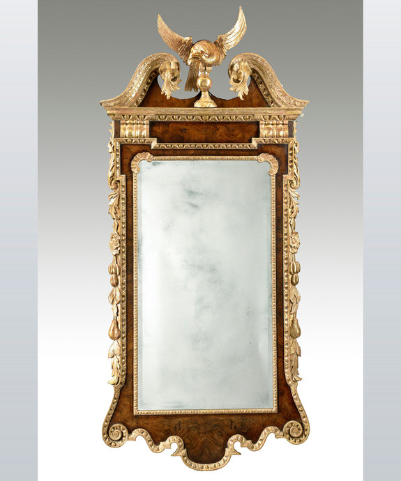 A fine George II period walnut and parcel gilt mirror of unusually large proportions. Large Image 1