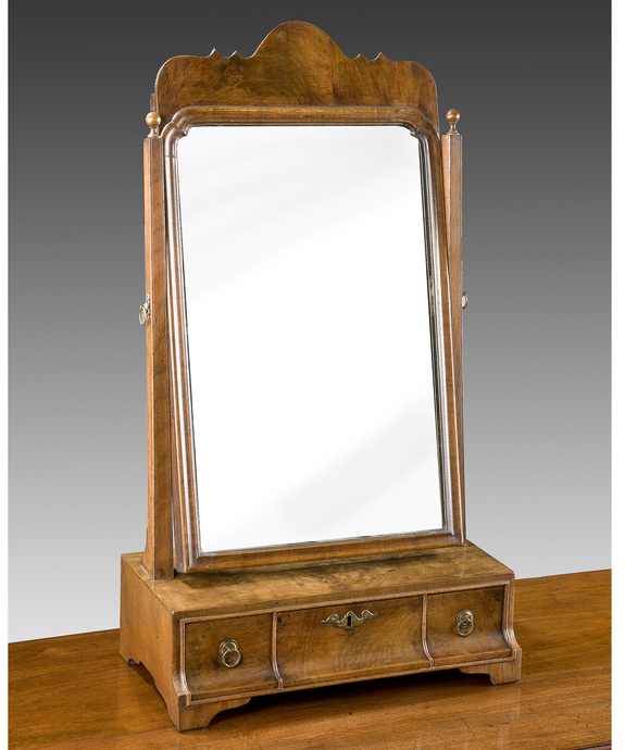 A Queen Anne period walnut veneered dressing mirror. Large Image 1