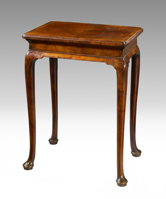 A fine Queen Anne period walnut veneered silver table. Large Image 1