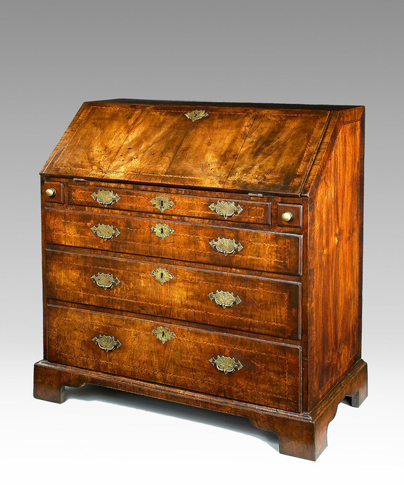 A beautifully patinated Queen Anne period walnut veneered bureau. Large Image 1