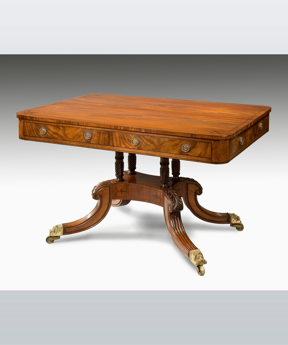 A Regency period mahogany library table. Large Image 1