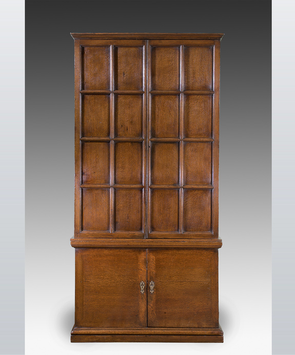 A George II period oak press cupboard. Large Image 1
