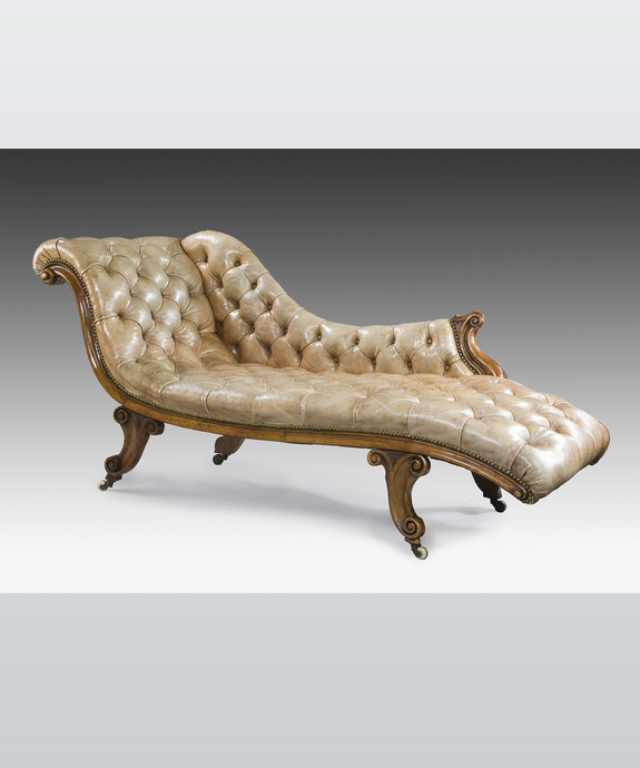 An elegant mid 19th Century mahogany chaise longue. Large Image 1