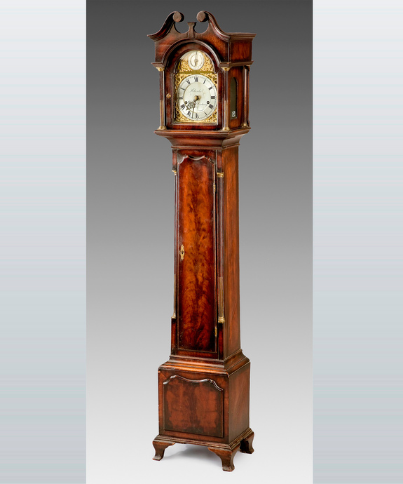 A fine late 19th Century miniature longcase clock retailed by Clerke, Royal Exchange. Large Image 1
