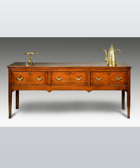 A George III period oak dresser base. Large Image 1