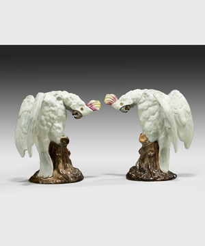 A well modelled pair of porcelain cockatiels.