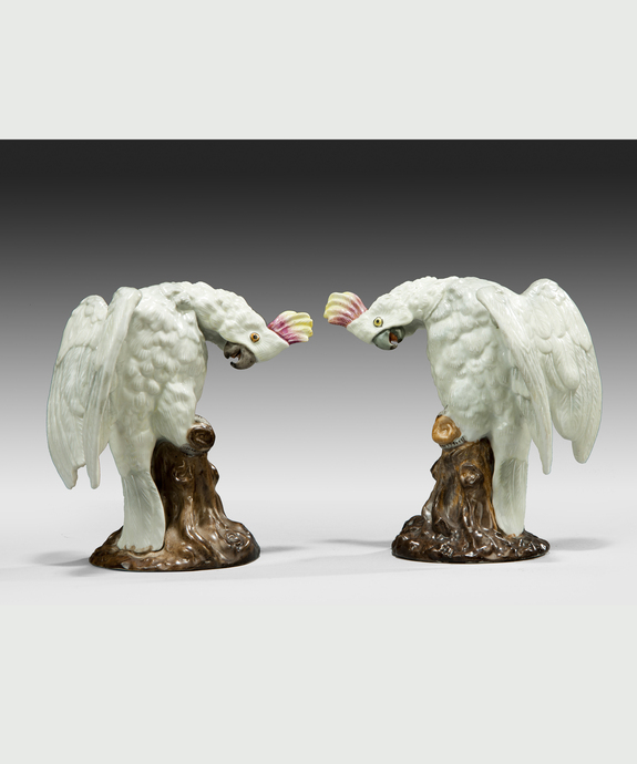 A well modelled pair of porcelain cockatiels. Large Image 1