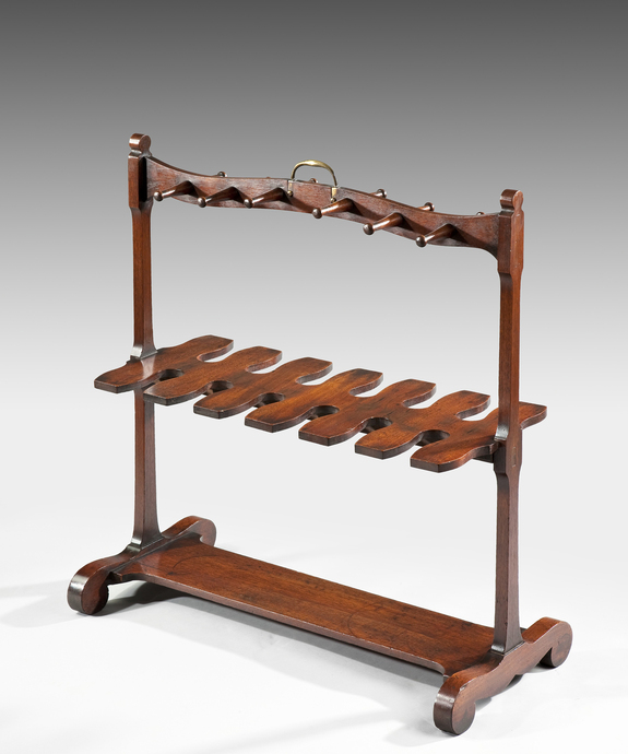 An unusual 19th Century mahogany boot rack. Large Image 1