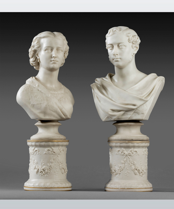 A fine pair of Parian ware busts of Edward, Prince of Wales and Princess Alexandra by Copeland. Large Image 1