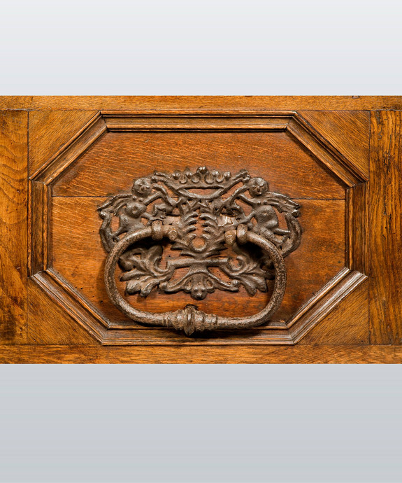 A 17th Century German oak inlaid marriage chest.  Large Image 1