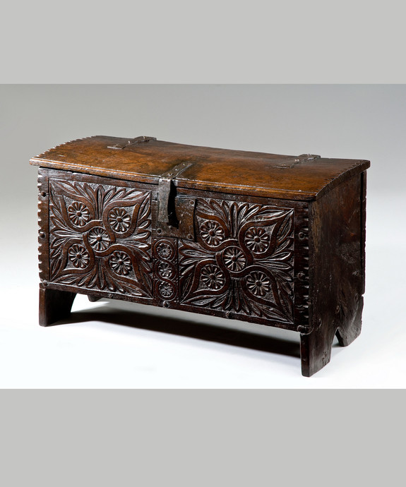 A beautifully carved 17th Century oak coffer. Large Image 1