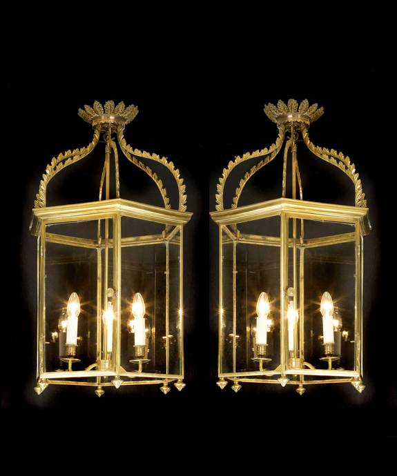 A fine pair of late 19th Century brass lanterns. Large Image 1
