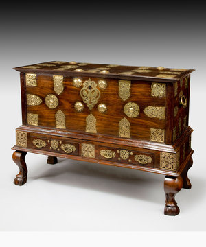 An ununsual mid 18th Century Goan chest on stand.