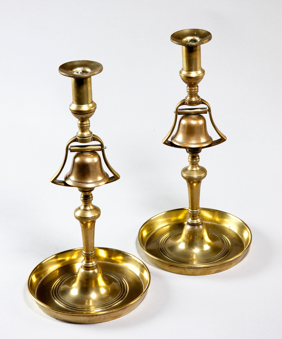 A rare pair of 19th Century bell metal Tavern Candlesticks. Large Image 1