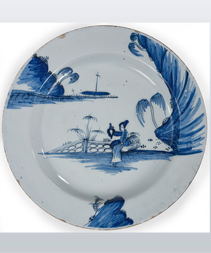 Georgian Delft blue and white plate.