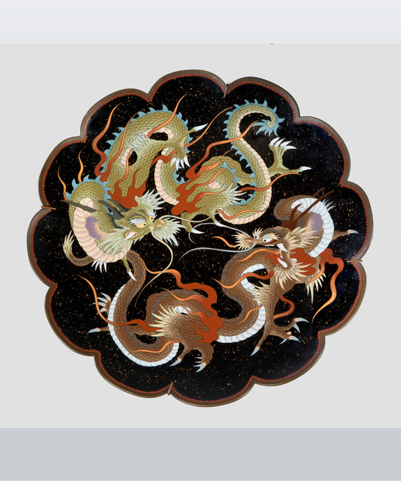 A Meiji period cloisonne enamel dish with a lobed edge. Large Image 1
