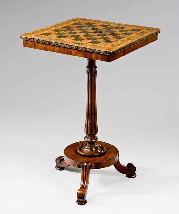 A Regency period rosewood chess table