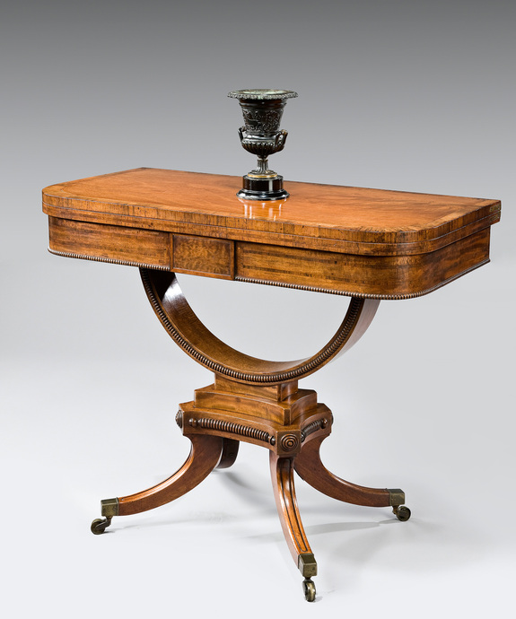 A Regency period mahogany veneered card table. Large Image 1
