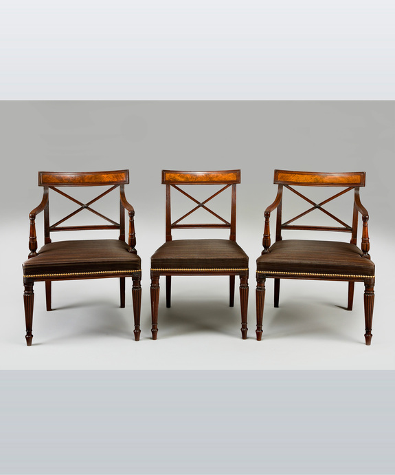 A fine set of 12 (10+2) George III period mahogany dining chairs.  Large Image 1