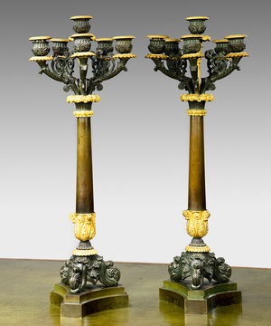 Pair of French Empire bronze and ormolu candelabra.