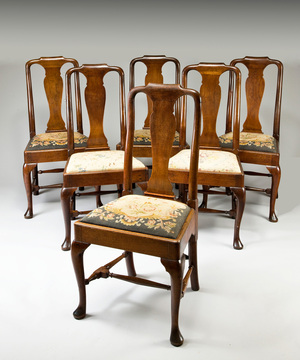 A good set of six Queen Anne period red walnut dining chairs.