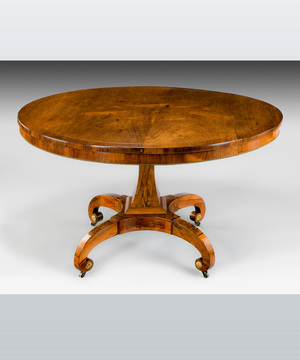 A fine Regency period rosewood veneered centre table.