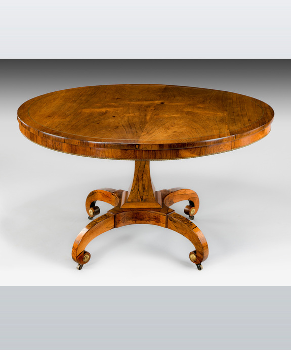 A fine Regency period rosewood veneered centre table. Large Image 1