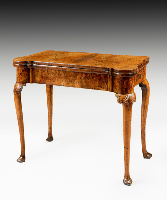 A fine Queen Anne period walnut veneered card table. Large Image 1