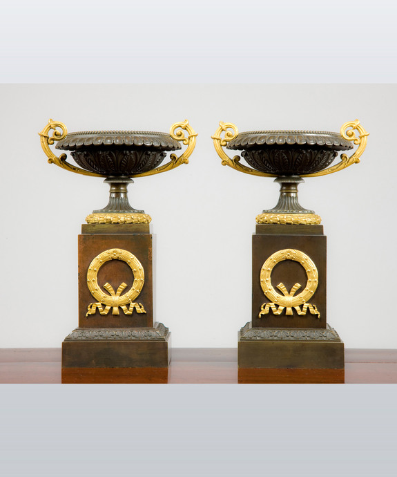 A pair of 19th century bronze Ormolu Tazzas