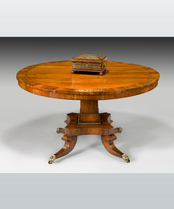 A fine Regency period rosewood veneered and brass inlaid centre table. Large Image 1