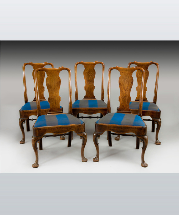 A well patinated set of five George II period mahogany dining chairs. Large Image 1