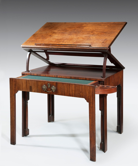 A well patinated Chippendale period mahogany architect's table. Large Image 1