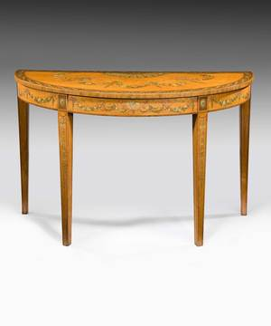 A Sheraton satinwood console table.