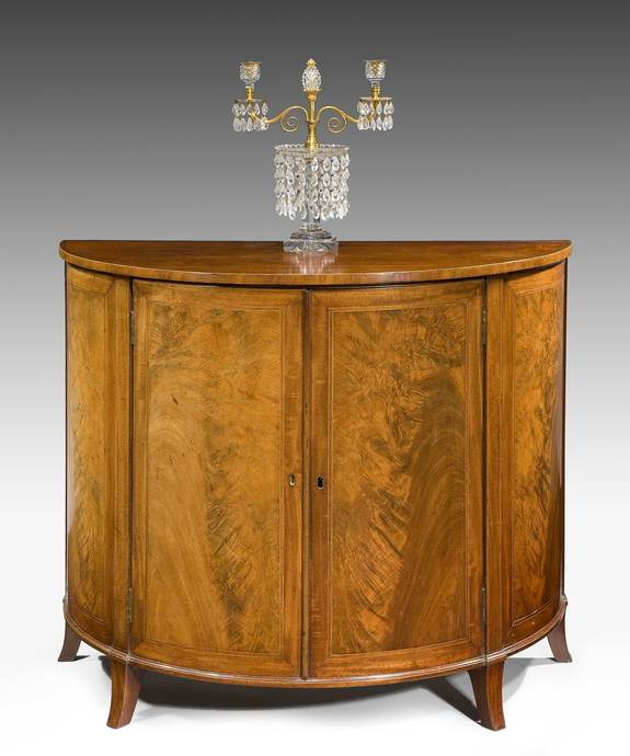 An elegant Sheraton period mahogany veneered demi-lune commode. Large Image 1