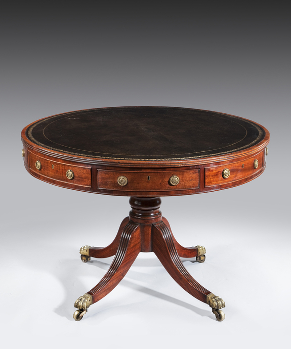 A George III period mahogany drum table. Large Image 1