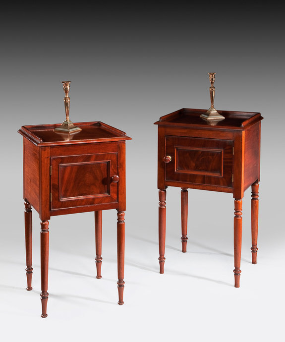 A near pair of early 19th Century mahogany pot cupboards. Large Image 1