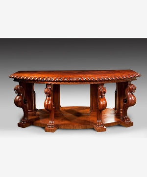 A powerful Regency period carved mahogany console table.