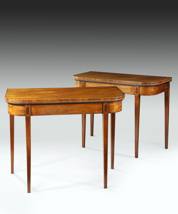 A pair of Sheraton period faded mahogany card tables. Large Image 1