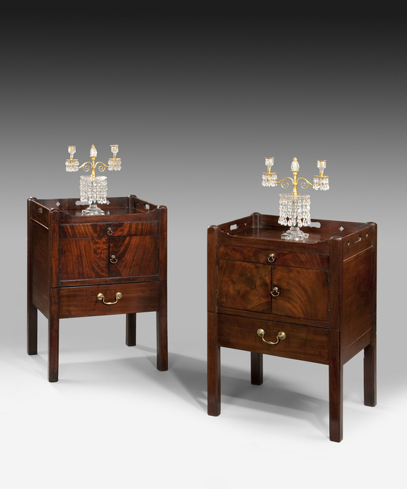A closely matched pair of Chippendale period mahogany tray top commodes. Large Image 1