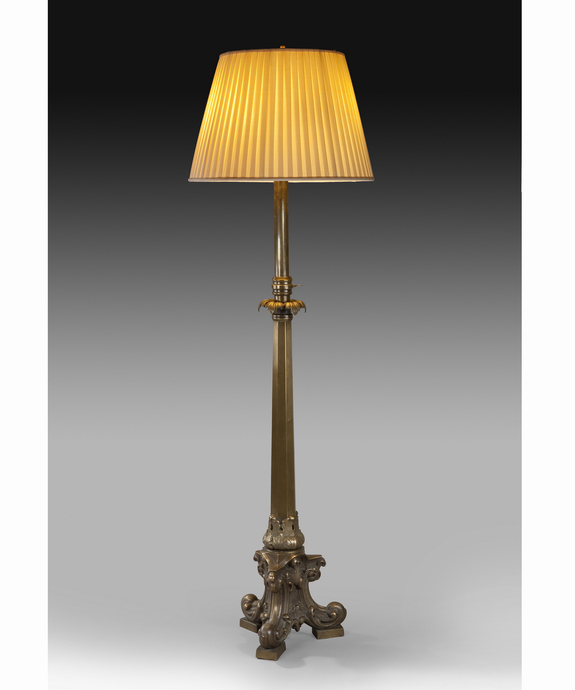 An unusual mid 19th Century brass standard lamp. Large Image 1