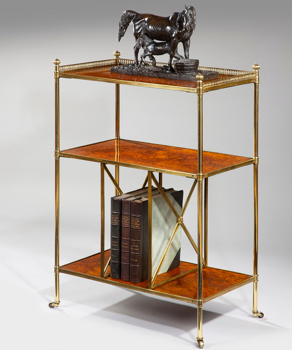 A fine mid 19th Century walnut and brass etagere. Large Image 1