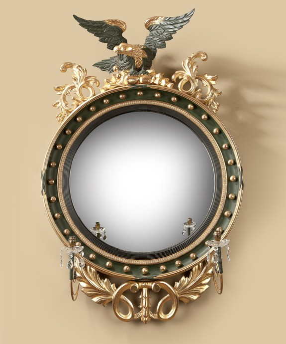 A good Regency period carved giltwood and bronzed convex mirror. Large Image 1