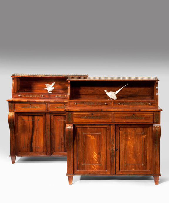 A handsome pair of Regency period rosewood and brass inlaid chiffoniers. Large Image 1