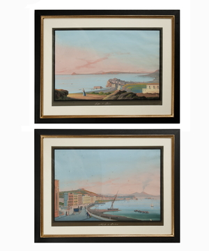 A pair of antique gouaches of Naples.