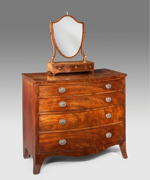 A Georgian mahogany bowfront chest.