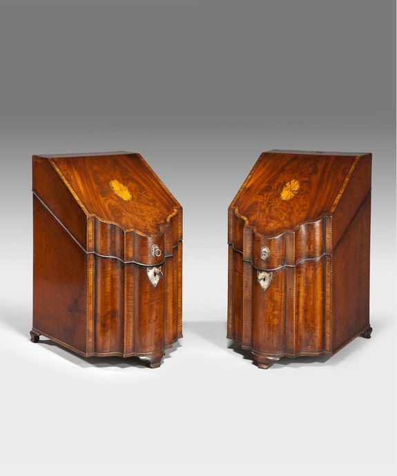 A fine pair of Sheraton period mahogany knife boxes. Large Image 1
